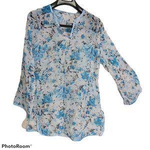 *3/$20* NWOT handmade tunic blue/white floral